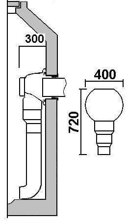Prinzipskizze - Als Fallrohr sind KG 150, 200 möglich.