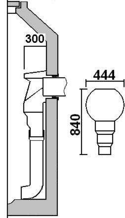 Kunststoff Formteil für innenliegender Absturz ankommende Leitung: max. 300 mm