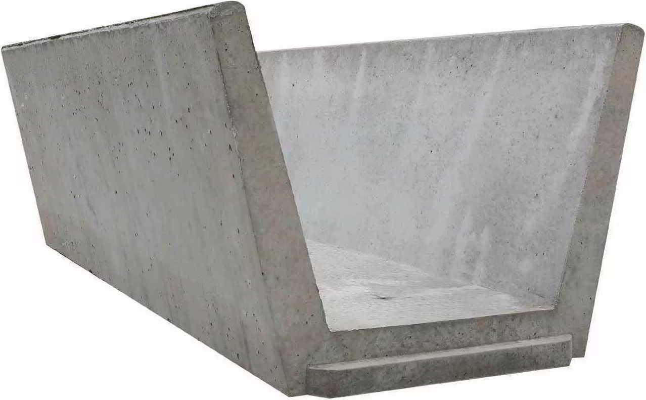 Sohlschalen aus Beton zur Entwässerung von Straßen, Gleisen
